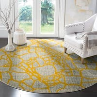 Safavieh Porcello Modern Abstract Light Grey/ Yellow Rug (6'7 Round)