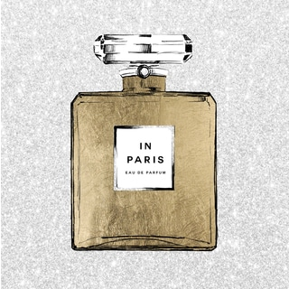 Paris Perfume Gold and White' White Glitter and Gold Foil Framed Art