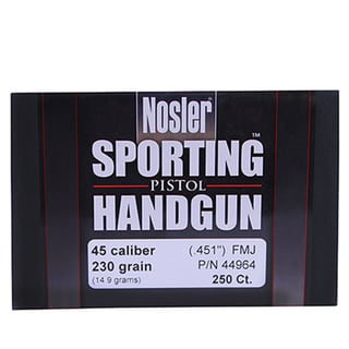 Nosler 45 Caliber Bullets Sporting Handgun, 230 Grains, Full Metal Jacket, Per 250