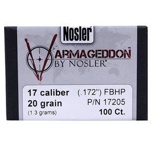 Nosler 17 Caliber Bullets Varmageddon, 20 Grains, Hollow Point Flat Base, Per 100
