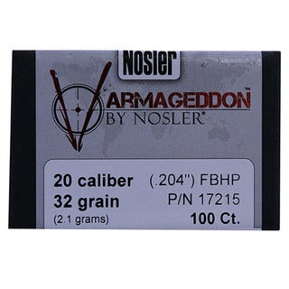 Nosler 20 Caliber Bullets Varmageddon, 32 Grains, Hollow Point Flat Base, Per 100