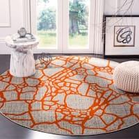 Safavieh Porcello Modern Abstract Light Grey/ Orange Rug - 6'7 Round