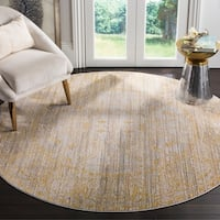 Safavieh Valencia Grey/ Gold Distressed Silky Polyester Rug - 6' 7 Round