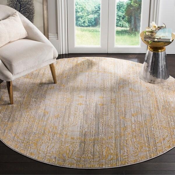 "Safavieh Valencia Grey/ Gold Distressed Silky Polyester Rug - 6'7"" x 6'7"" Round"