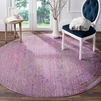 Safavieh Valencia Lavender/ Multi Overdyed Distressed Silky Polyester Rug - 6' 7 Round