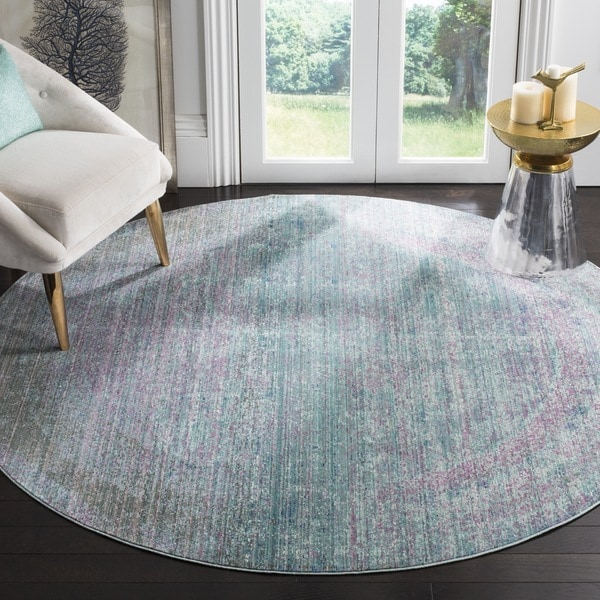 Safavieh Valencia Turquoise/ Multi Overdyed Distressed Silky Polyester Rug (6' 7 Round)
