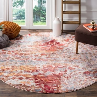 Safavieh Valencia Multi Abstract Distressed Silky Polyester Rug (6' 7 Round)