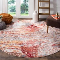 Safavieh Valencia Multi Abstract Distressed Silky Polyester Rug - 6' 7 Round