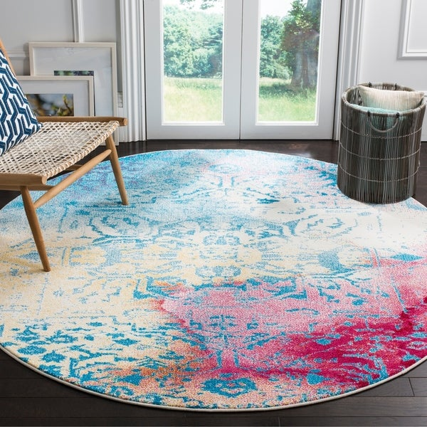 Safavieh Watercolor Bohemian Medallion Light Blue / Light Yellow Rug - 6' 7 Round