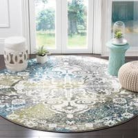 "Safavieh Watercolor Bohemian Medallion Ivory / Peacock Blue Rug - 6'7"" x 6'7"" Round"
