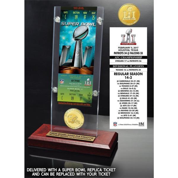 Super Bowl 51 Champions Ticket & Bronze Coin Acrylic Desk Top