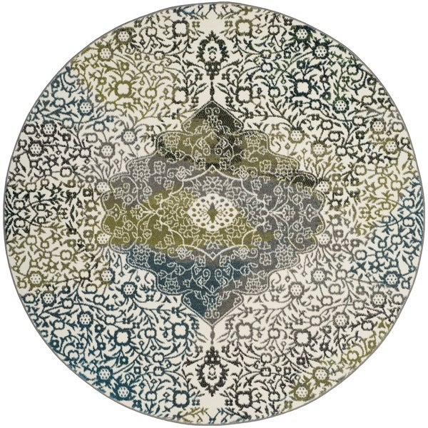 Safavieh Watercolor Bohemian Medallion Ivory / Peacock Blue Rug (6' 7 Round)