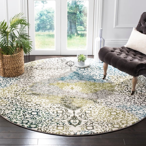 Safavieh Watercolor Bohemian Medallion Ivory / Peacock Blue Rug - 6' 7 Round