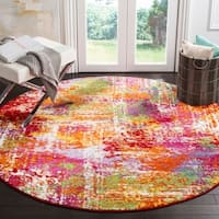 Safavieh Watercolor Contemporary Orange / Green Rug - 6' 7 Round