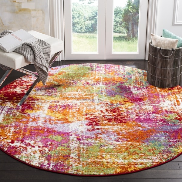 Safavieh Watercolor Contemporary Orange / Green Rug