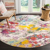 Safavieh Watercolor Contemporary Light Green / Rose Rug - 6' 7 Round
