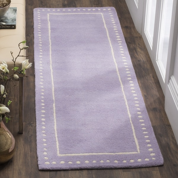 Safavieh Bella Contemporary Handmade Lavender / Ivory Wool Runner (2' 3 x 7')