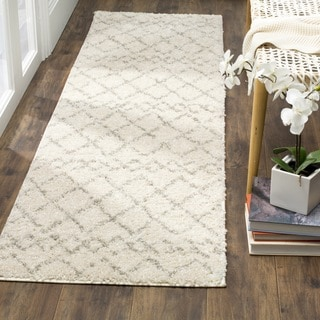 Safavieh Berber Tribal Cream / Light Grey Shag Runner (2' 3 x 8')