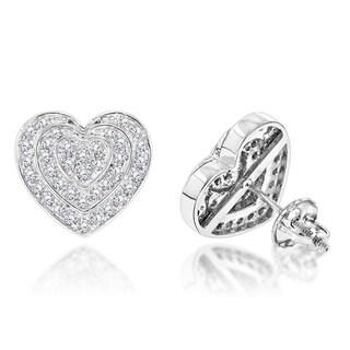 Luxurman 14k White Gold 3/4ct TDW Diamond Heart Earrings (H-I, SI1-SI2)