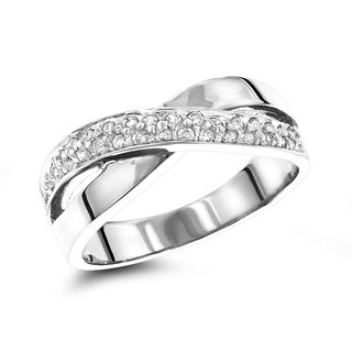 Luxurman 14k White or Yellow Gold 1/3ct TDW White Diamond Criss-Cross Ring