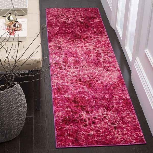 Safavieh Monaco Abstract Watercolor Fuchsia Distressed Runner Rug - 2'2 x 12'