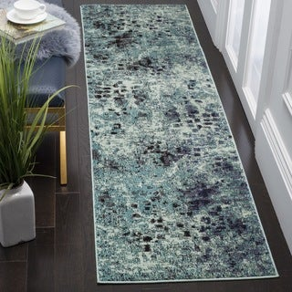 Safavieh Monaco Abstract Watercolor Light Blue/ Multi Distressed Runner (2'2 x 10')