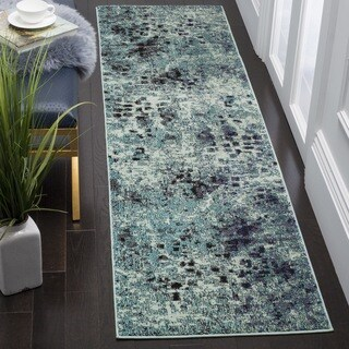 Safavieh Monaco Abstract Watercolor Light Blue/ Multi Distressed Runner (2'2 x 12')