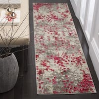 Safavieh Monaco Abstract Grey / Fuchsia Pink Distressed Runner Rug - 2'2 x 10'