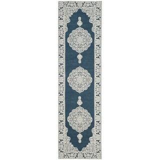 Safavieh Marbella Handmade Medallion Dark Blue / Ivory Wool Runner (2' 3 x 8')