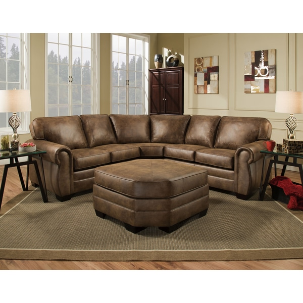 Beau Simmons Upholstery Shiloh Faux Leather Sectional With Ottoman