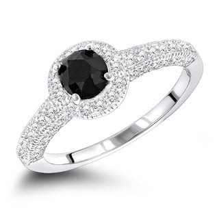 Luxurman 14k Gold 1ct TDW Black and White Diamond Engagement Ring (H-I, SI1-SI2)