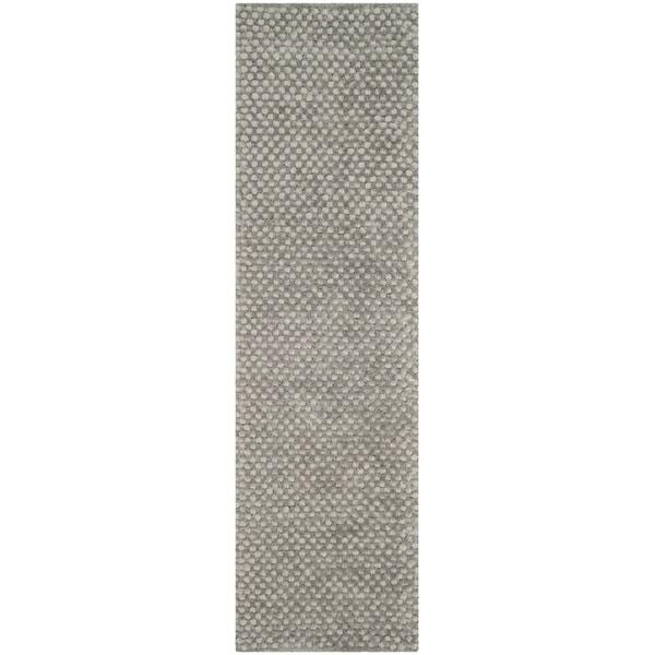 Safavieh Hand-Woven Saint Tropez Silver Polyester Shag Runner (2' 3 x 8')