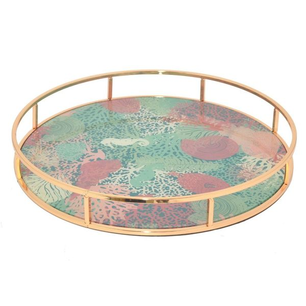 Benzara Rose Gold Metal Fl Serving Tray