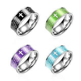Men's Religious Scribe Staimless Steel 4 Colors Smooth Band Ring
