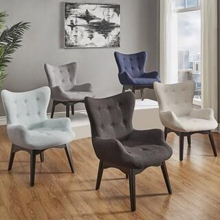 Alida Button Tufted Linen Fabric Accent Chair iNSPIRE Q Modern