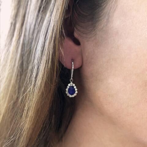 14K White Gold 7x5 mm Pear Shaped - Natural Corundum Blue Sapphire Earrings