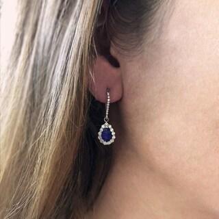 14k White Gold Natural Corundum Sapphires and 5/8ct TDW White Diamond Dangle Earrings (H-I, SI2-I1)