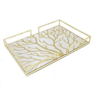 Three Hands Golden Metal Tray With Designs