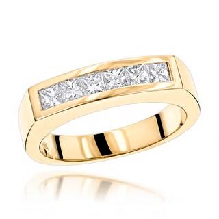 Luxurman 14K Gold Men's 3/5ct TDW Diamond Wedding Band