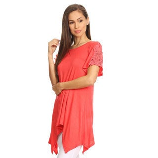 Women's Solid Rayon and Spandex Crochet-lace Shoulder Tunic