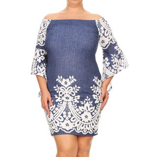 Women's Blue Plus-size Floral Fitted Dress
