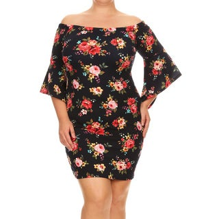 Women's Plus-size Floral Fitting Dress