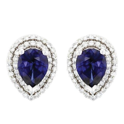 14K White Gold 9x7 mm Pear Shaped - Natural Corundum Blue Sapphire Earrings