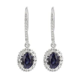 14k White Gold Natural Corundum Sapphire and 5/8ct TDW White Diamond Oval Earrings (H-I, SI2-I1)