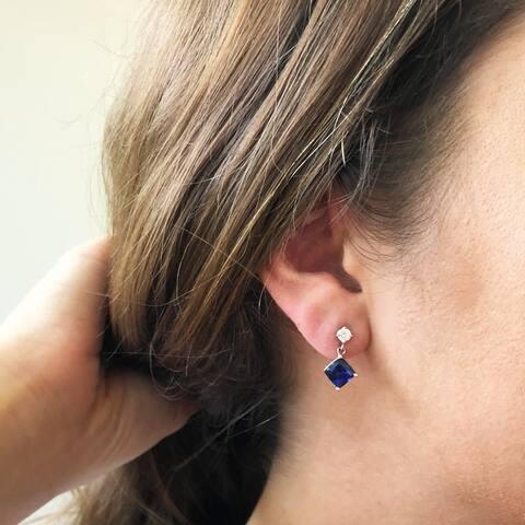 14K White Gold 6 mm Cushion Cut - Natural Corundum Blue Sapphire Earrings