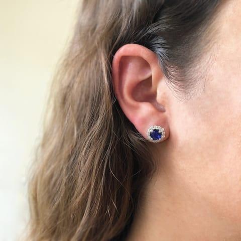 14K White Gold 5 mm Round Cut - Natural Corundum Blue Sapphire Earrings