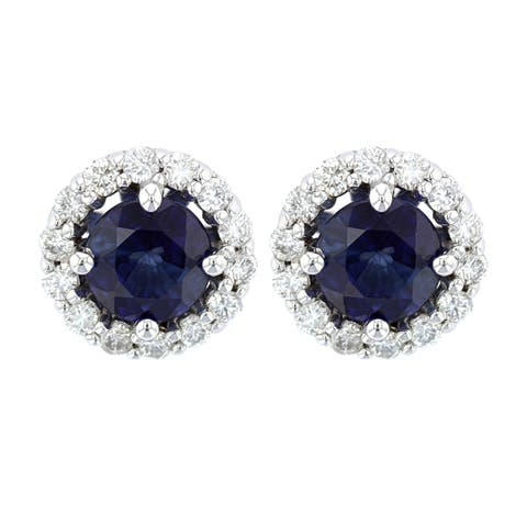 14K White Gold 6 mm Round Cut - Natural Corundum Blue Sapphire Earrings