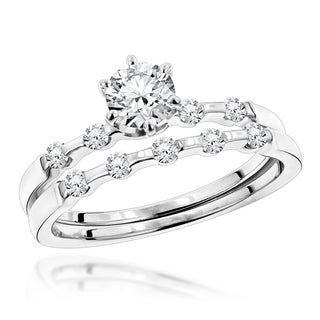 Luxurman 14k White Gold 3/4ct TDW Diamond Designer Engagement Ring Set