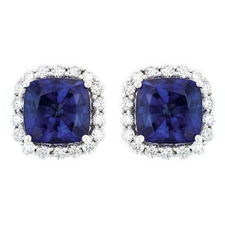 Ladies 14K White Gold 8mm Cushion Cut Natural Corundum Sapphire and Diamond Halo Stud Earrings