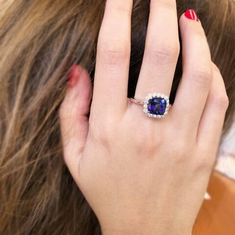 14k White Gold Natural Corundum Sapphire 1/3ct TDW White Diamond Ring